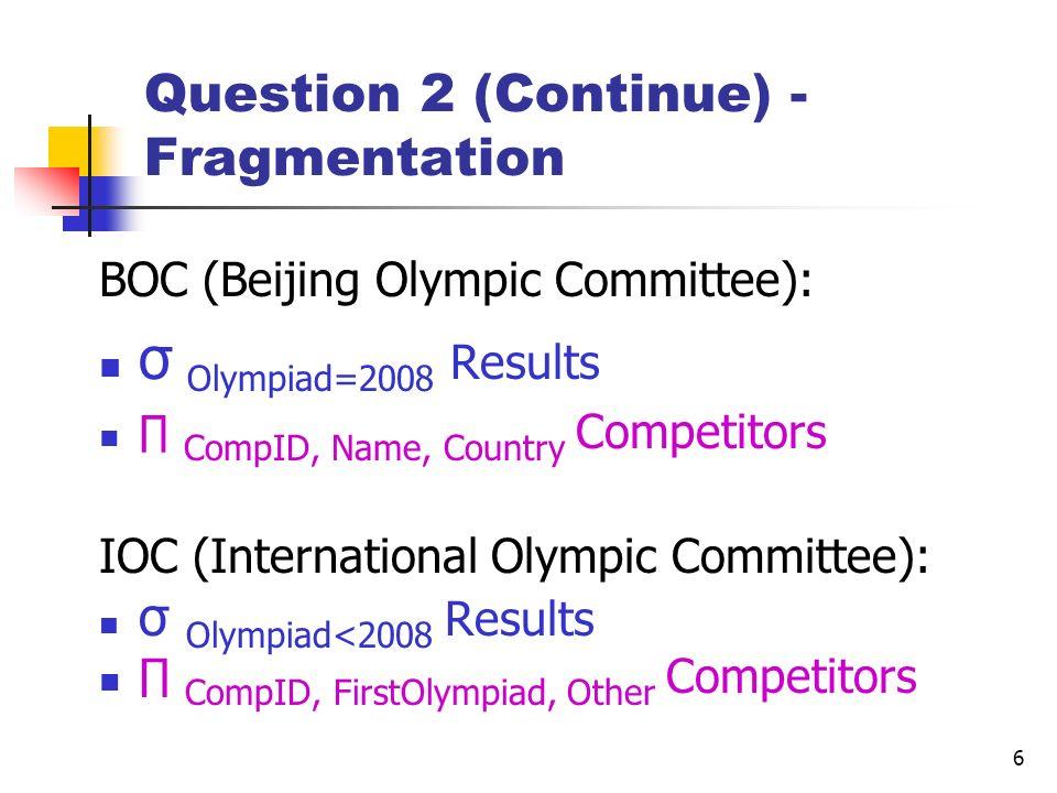 Question 2 (Continue) - Fragmentation