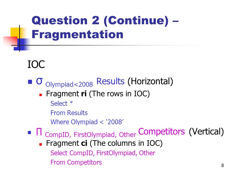 Question 2 (Continue) –Fragmentation