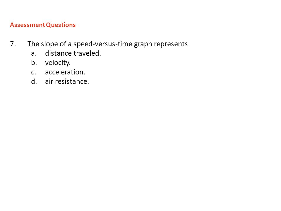 The slope of a speed-versus-time graph represents distance traveled.