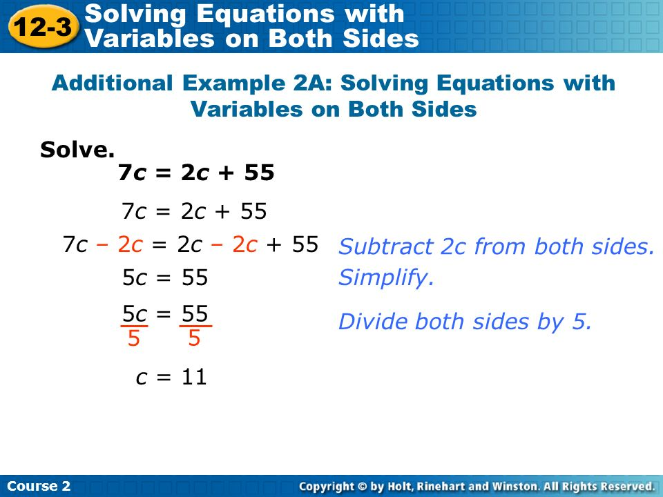 Additional Example 2A: Solving Equations with Variables on Both Sides