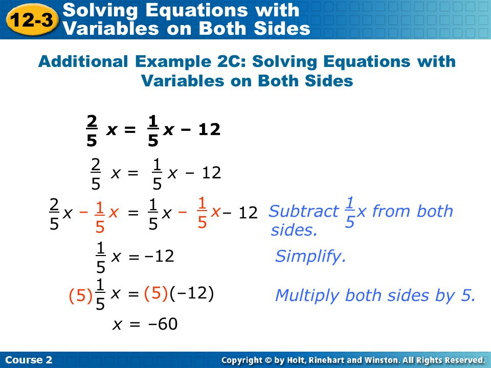 Additional Example 2C: Solving Equations with Variables on Both Sides