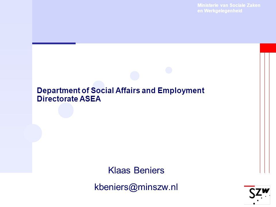 Department of Social Affairs and Employment Directorate ASEA