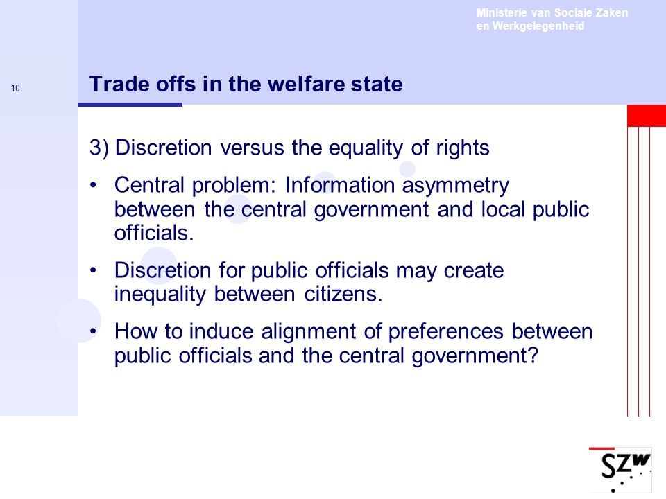 Trade offs in the welfare state