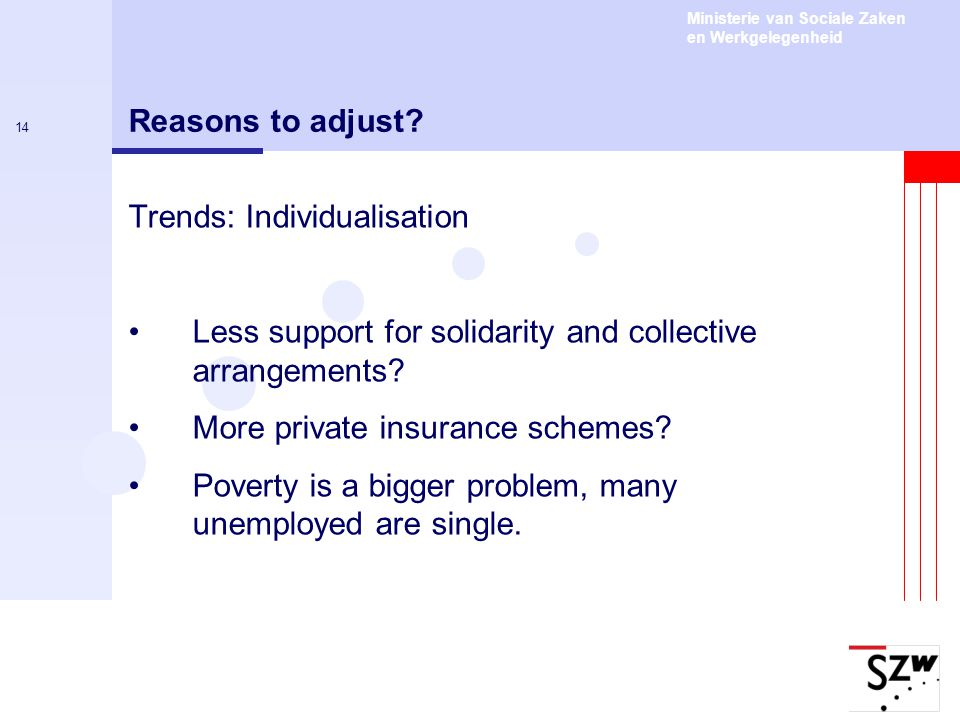 Reasons to adjust Trends: Individualisation. Less support for solidarity and collective arrangements