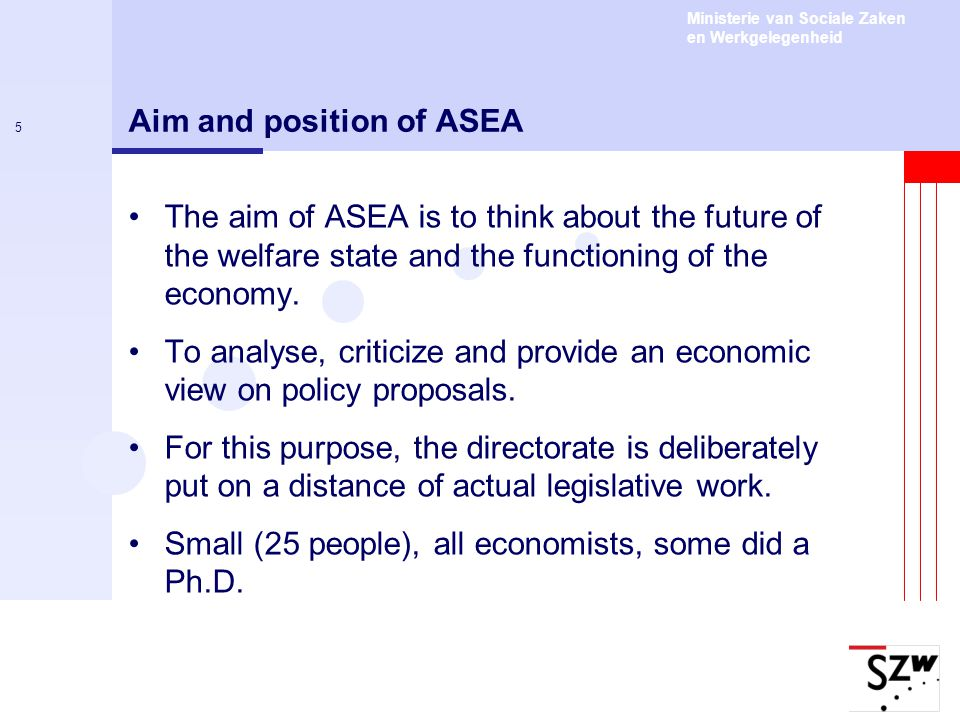 Aim and position of ASEA