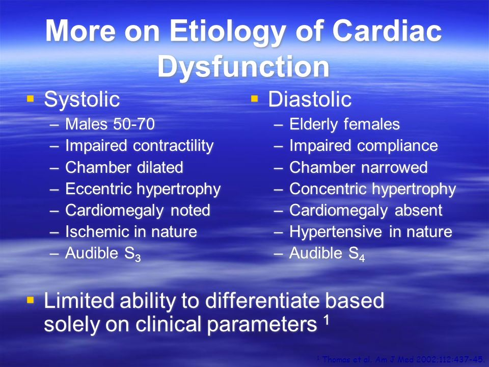 More on Etiology of Cardiac Dysfunction