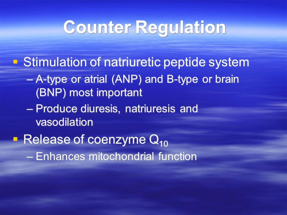 Counter Regulation Stimulation of natriuretic peptide system