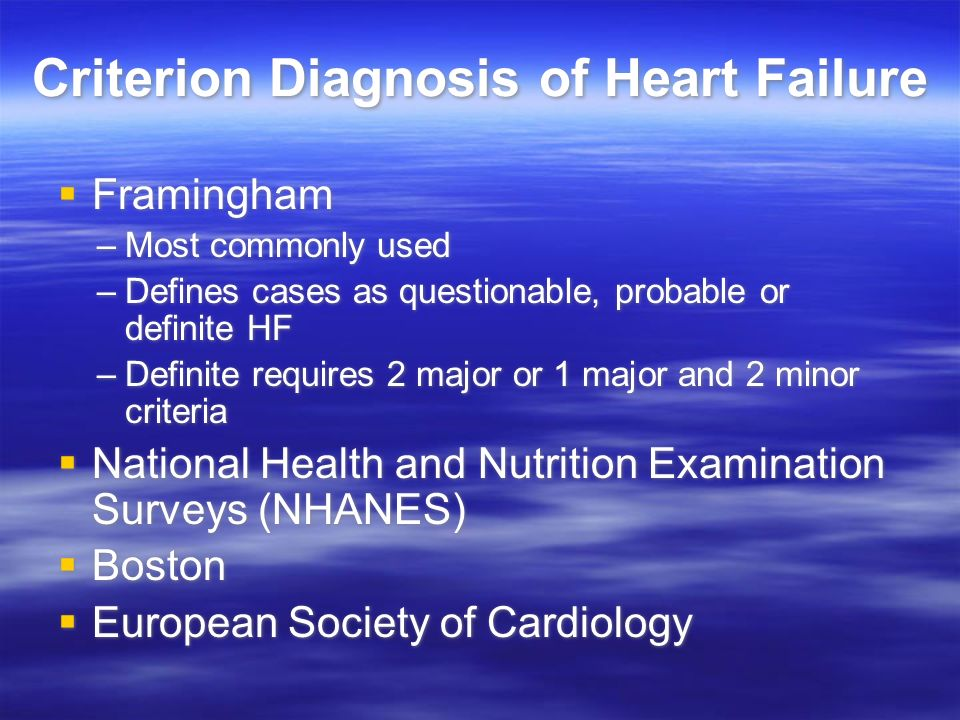 Criterion Diagnosis of Heart Failure