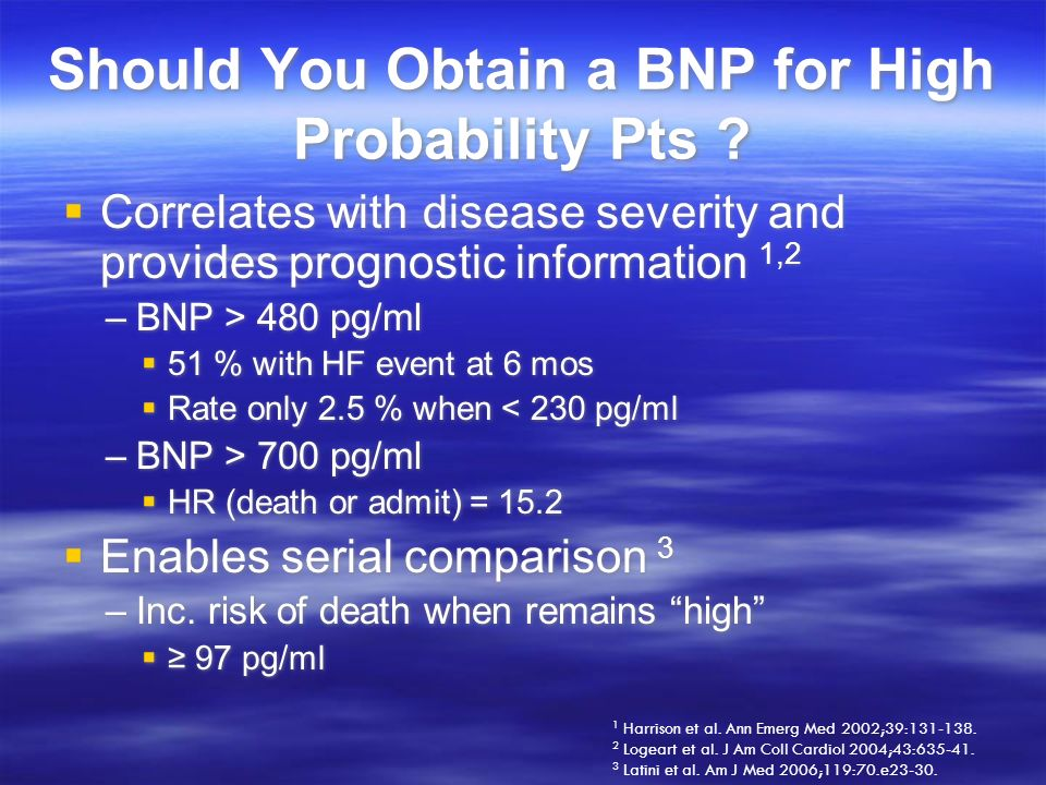Should You Obtain a BNP for High Probability Pts