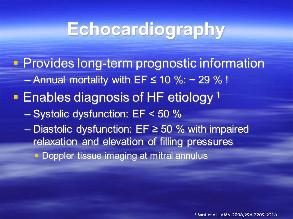 Echocardiography Provides long-term prognostic information
