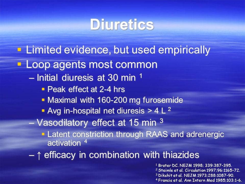 Diuretics Limited evidence, but used empirically
