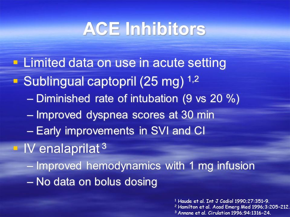 ACE Inhibitors Limited data on use in acute setting