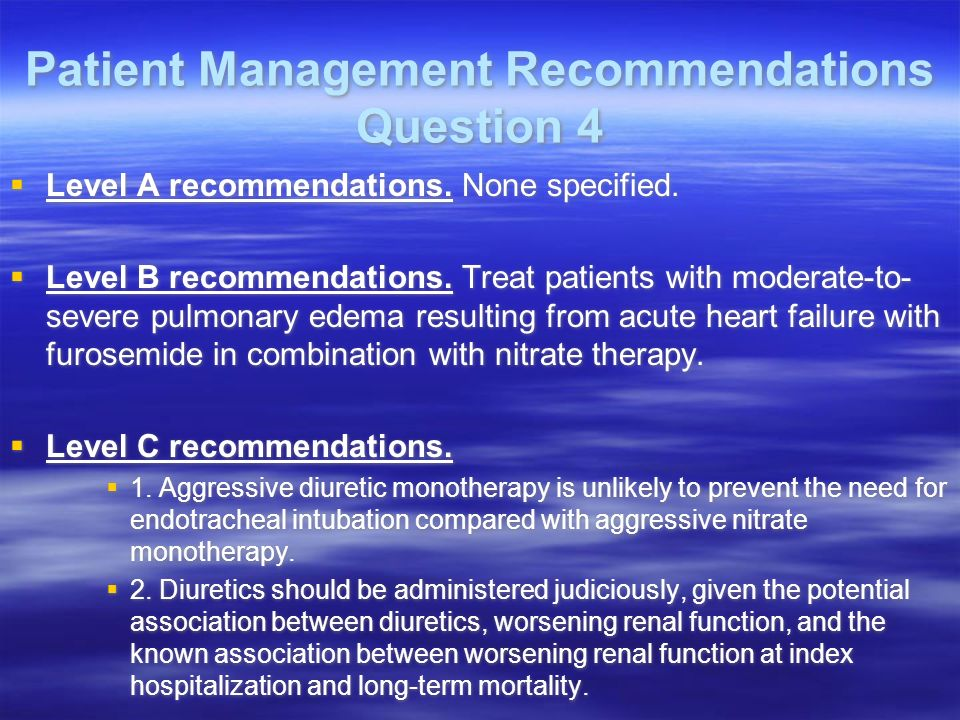 Patient Management Recommendations Question 4