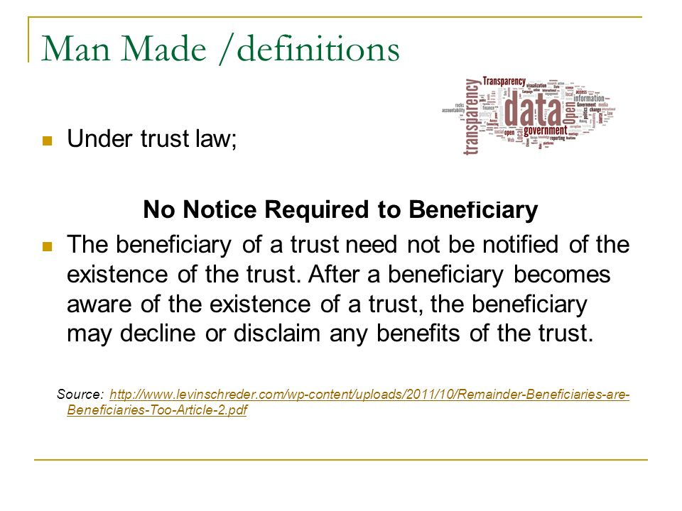 No Notice Required to Beneficiary
