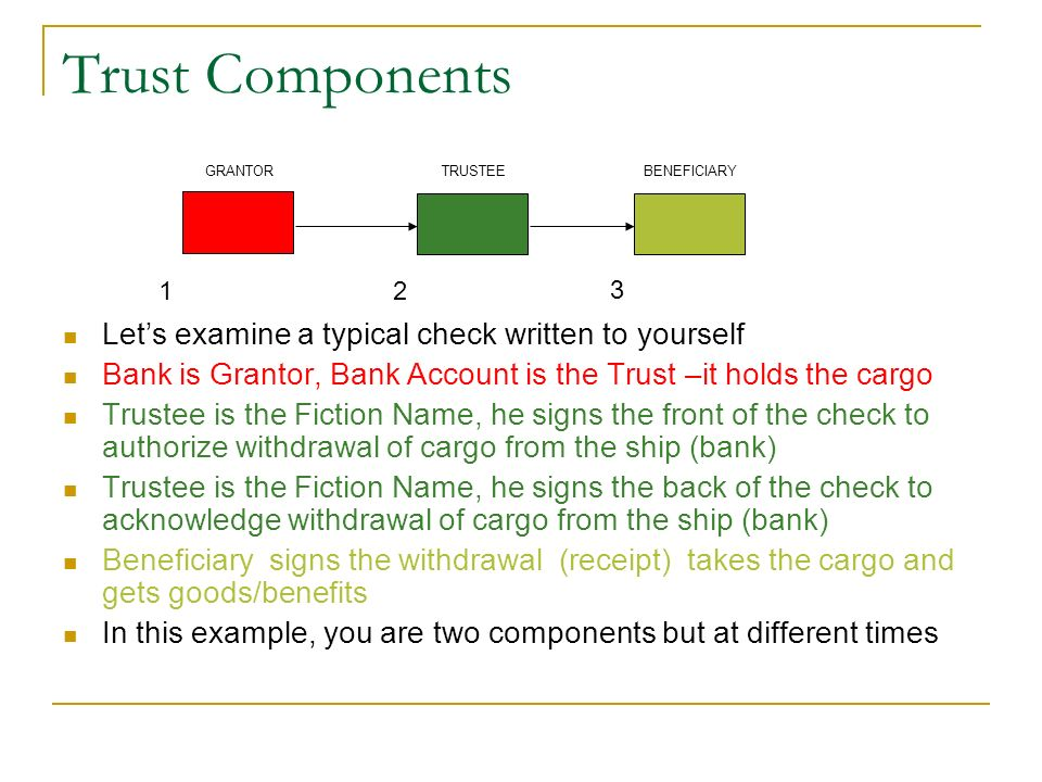 Trust Components Let's examine a typical check written to yourself