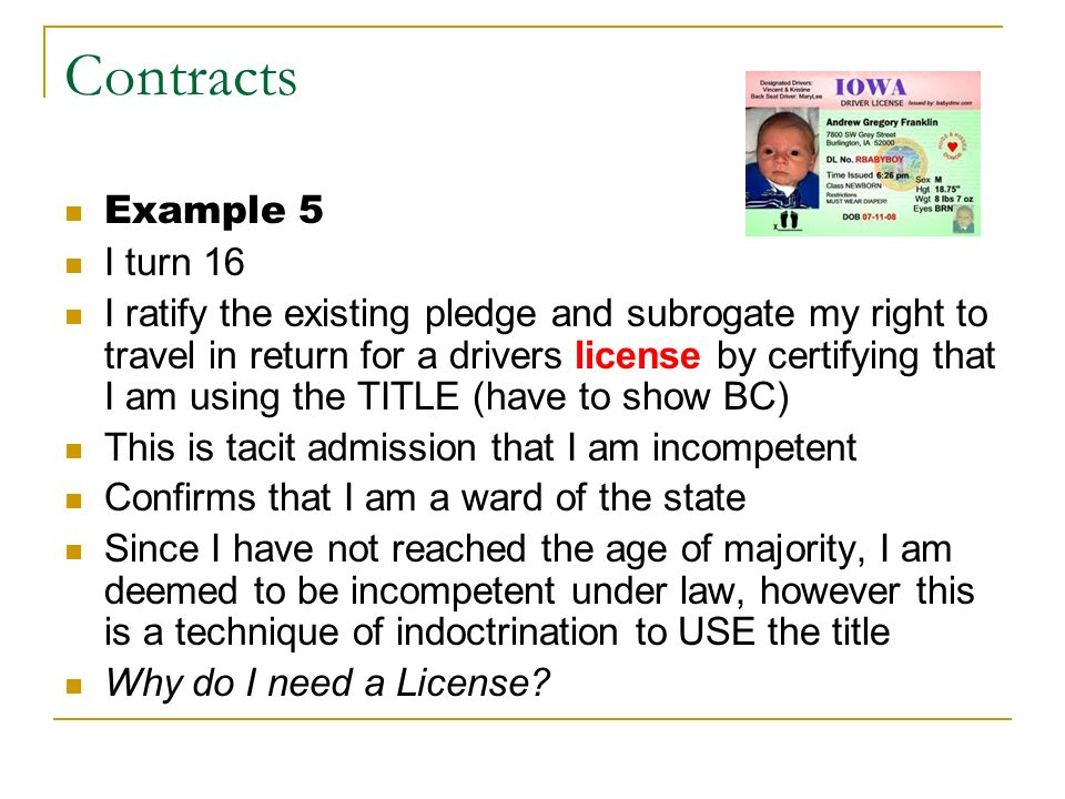 Contracts Example 5 I turn 16