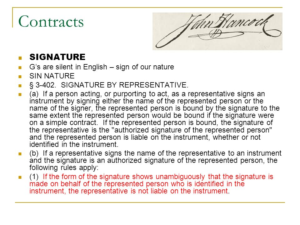 Contracts SIGNATURE G's are silent in English – sign of our nature