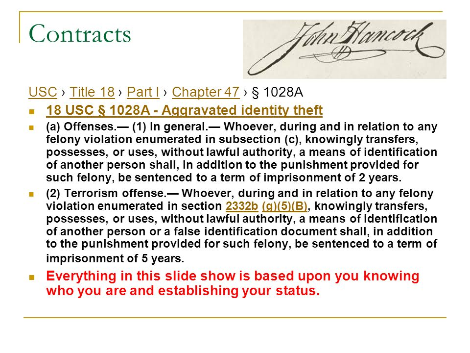 Contracts USC › Title 18 › Part I › Chapter 47 › § 1028A