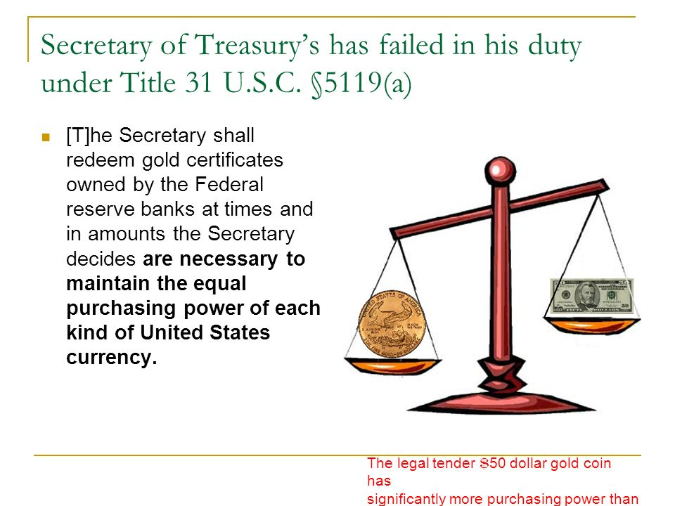 Secretary of Treasury's has failed in his duty under Title 31 U. S. C