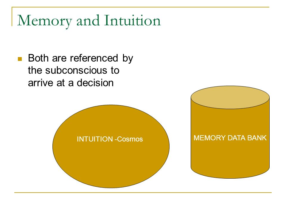 Memory and Intuition Both are referenced by the subconscious to arrive at a decision. MEMORY DATA BANK.