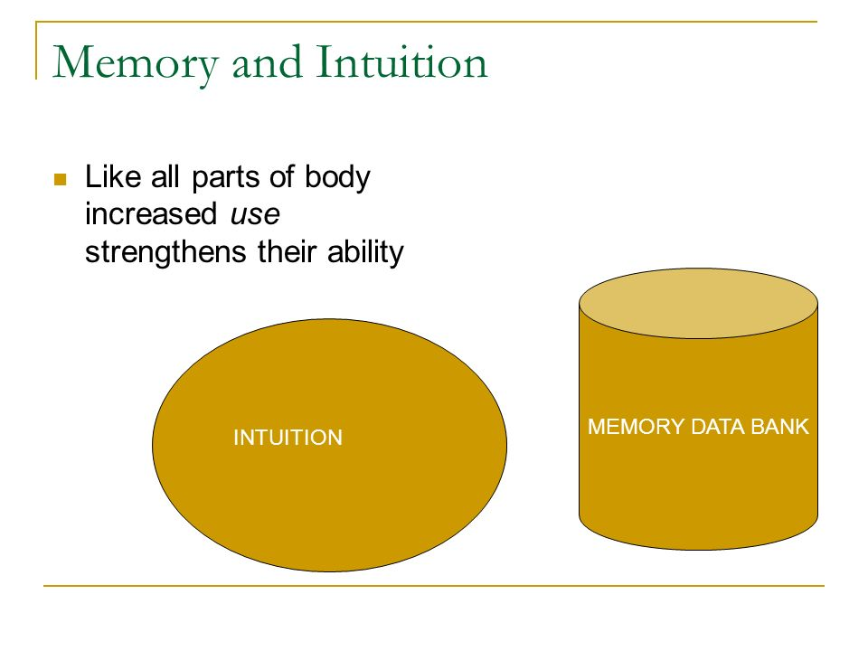 Memory and Intuition Like all parts of body increased use strengthens their ability. MEMORY DATA BANK.