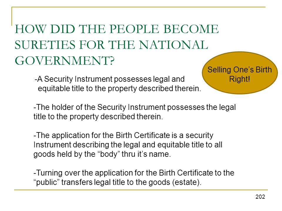 HOW DID THE PEOPLE BECOME SURETIES FOR THE NATIONAL GOVERNMENT