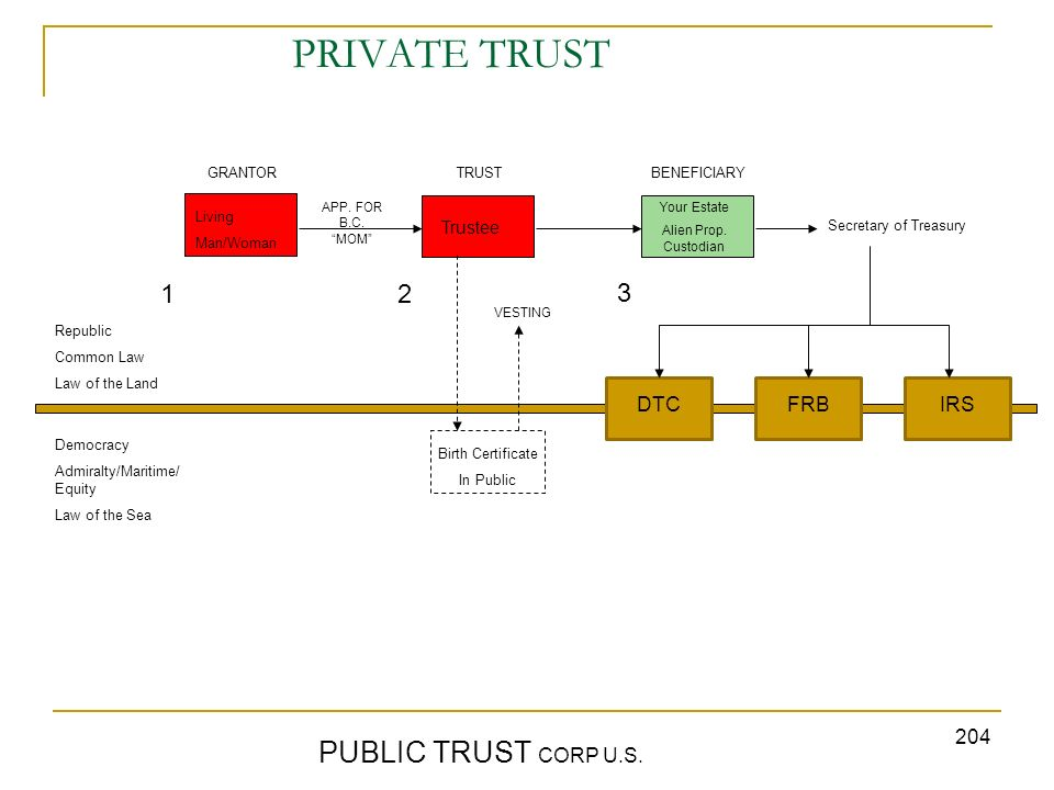PRIVATE TRUST PUBLIC TRUST CORP U.S. 1 2 3 DTC FRB IRS Trustee GRANTOR