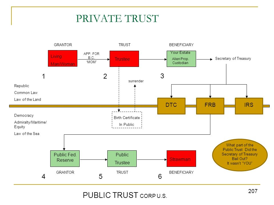 PRIVATE TRUST PUBLIC TRUST CORP U.S. 1 2 3 4 5 6 DTC FRB IRS Trustee
