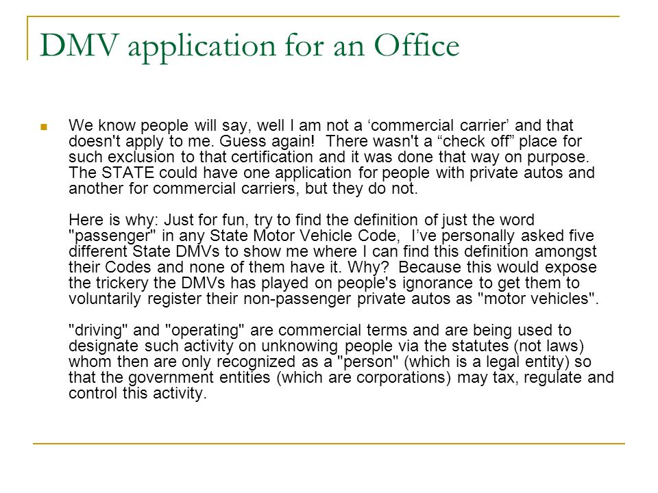 DMV application for an Office