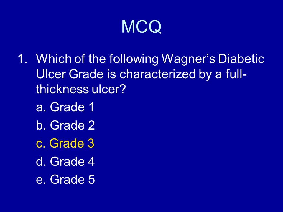 MCQ Which of the following Wagner's Diabetic Ulcer Grade is characterized by a full-thickness ulcer