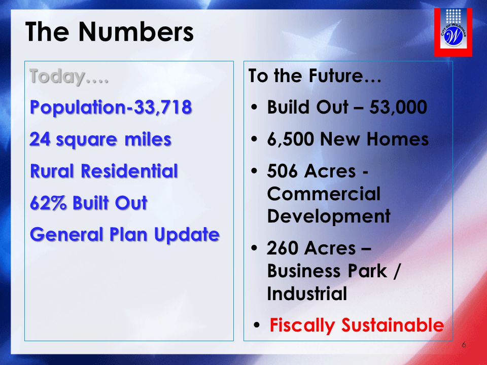 The Numbers Today…. Population-33,718 24 square miles Rural Residential 62% Built Out General Plan Update