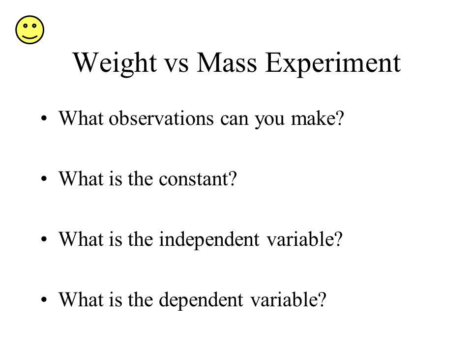 Weight vs Mass Experiment