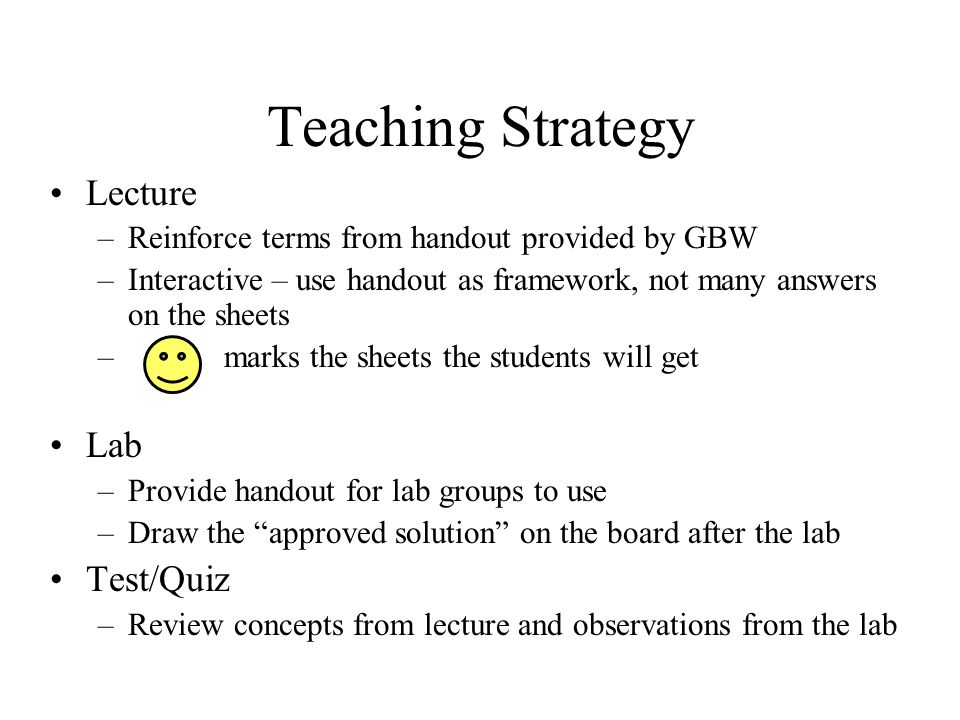 Teaching Strategy Lecture Lab Test/Quiz