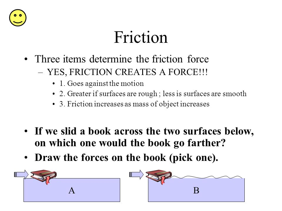 Friction Three items determine the friction force