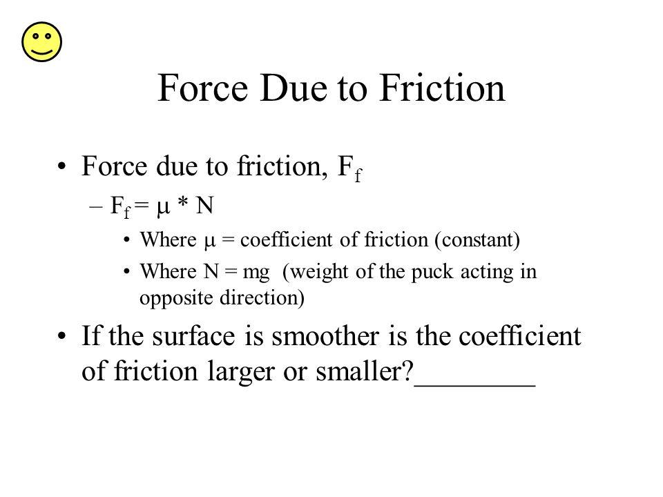 Force Due to Friction Force due to friction, Ff