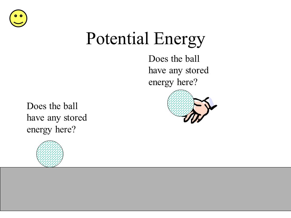 Potential Energy Does the ball have any stored energy here