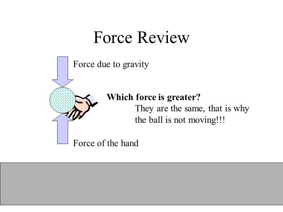 Force Review Force due to gravity Which force is greater