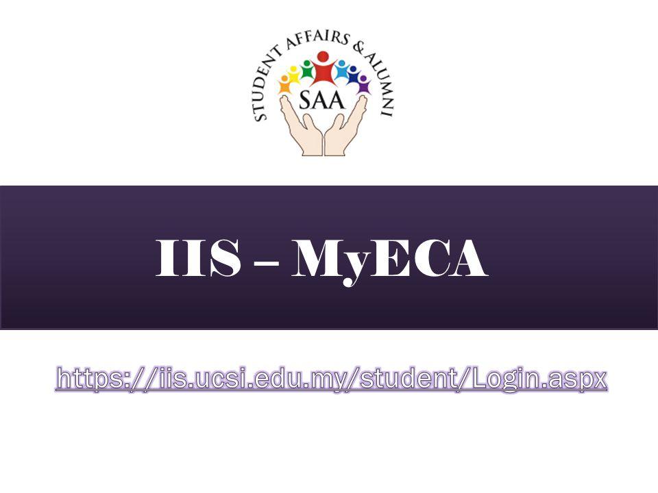 IIS – MyECA https://iis.ucsi.edu.my/student/Login.aspx