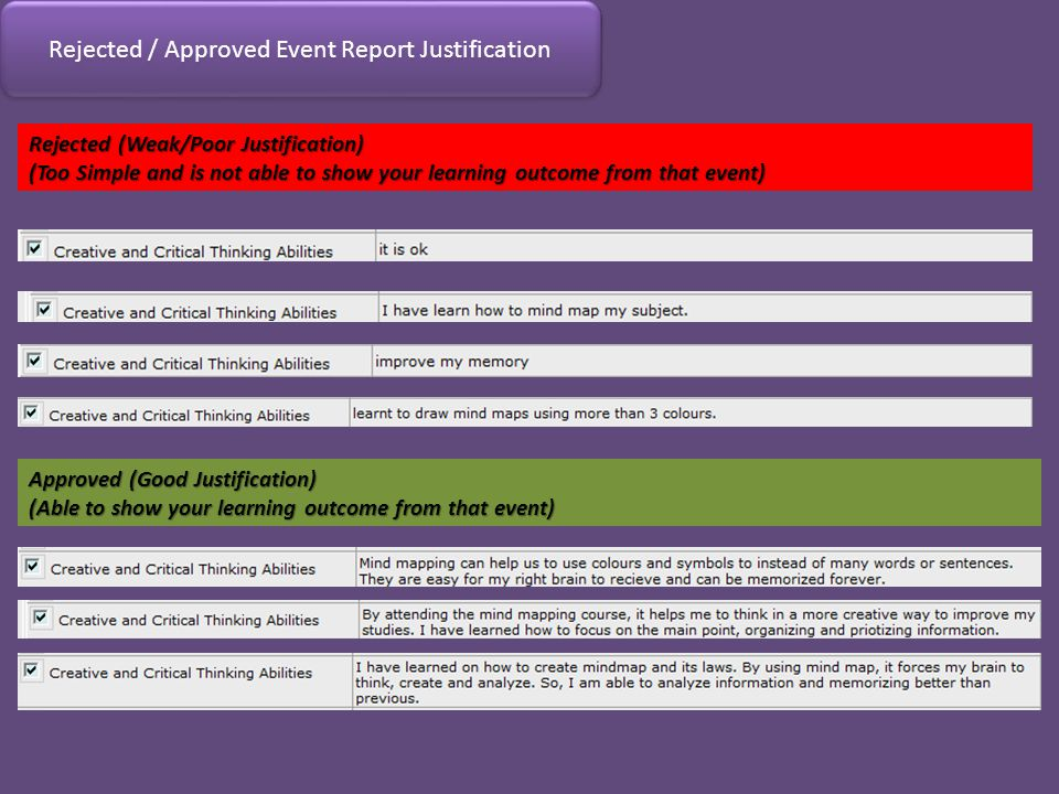 Rejected / Approved Event Report Justification