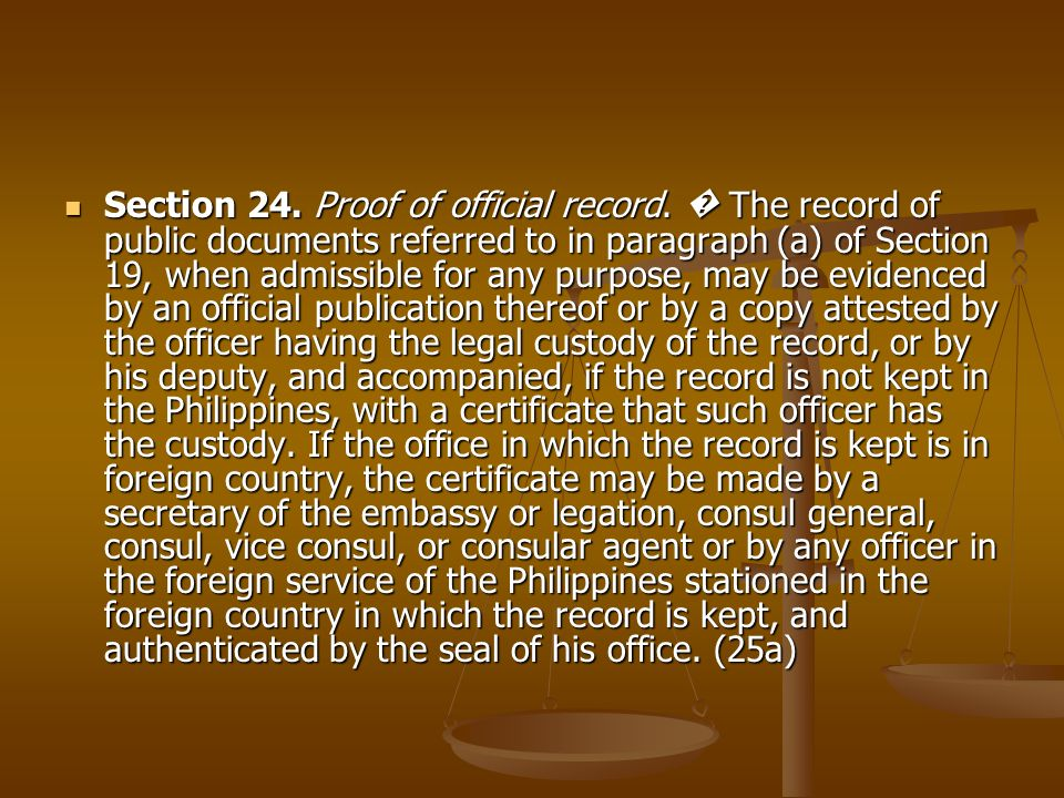 Section 24. Proof of official record