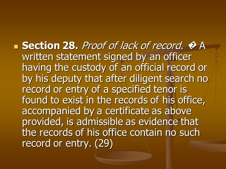 Section 28. Proof of lack of record