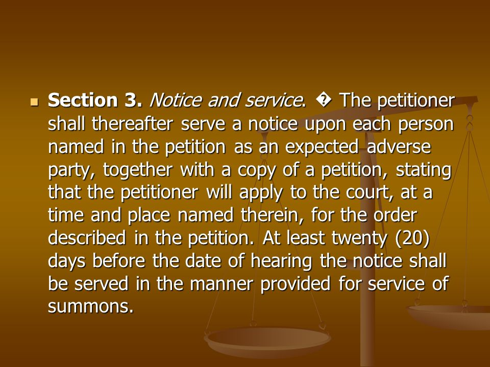 Section 3. Notice and service