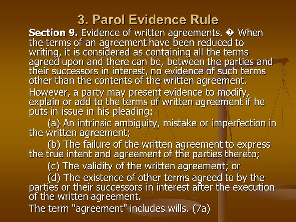 3. Parol Evidence Rule