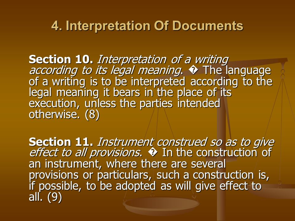 4. Interpretation Of Documents