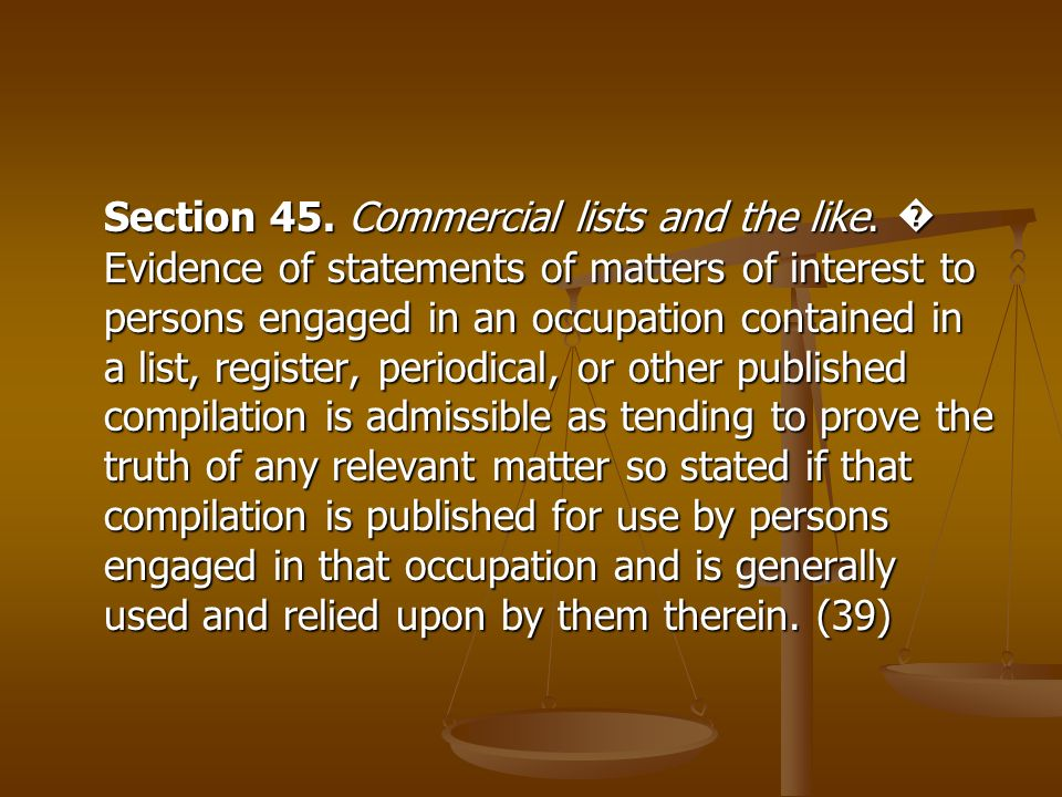 Section 45. Commercial lists and the like