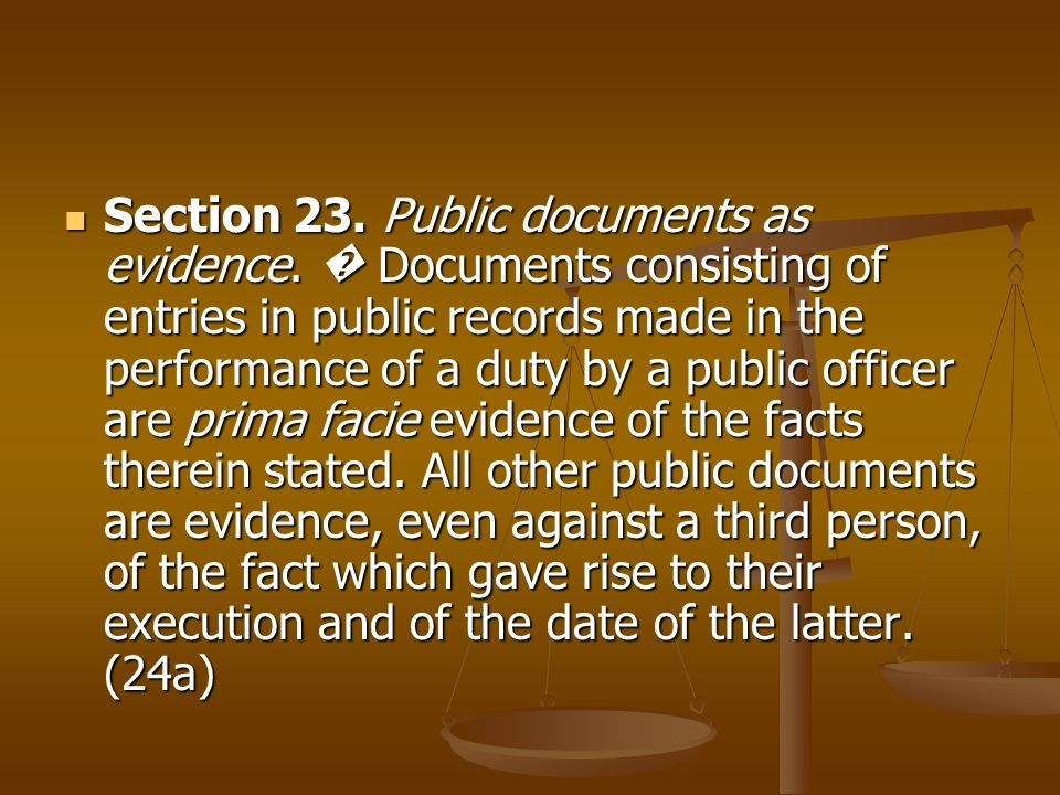 Section 23. Public documents as evidence