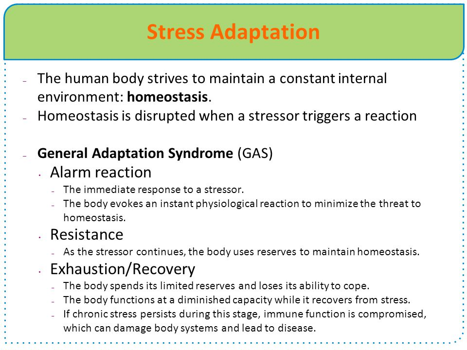Stress Adaptation Alarm reaction Resistance Exhaustion/Recovery