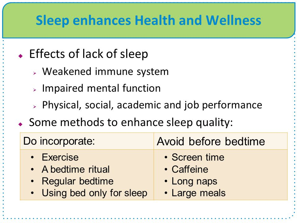 Sleep enhances Health and Wellness