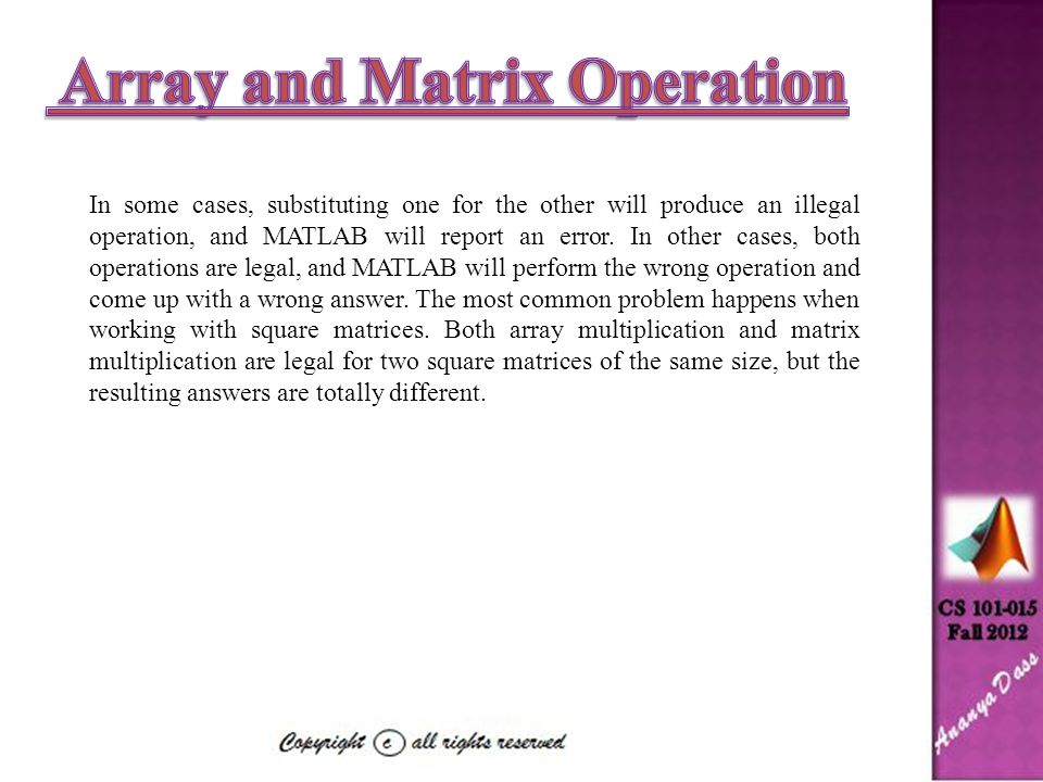 Array and Matrix Operation