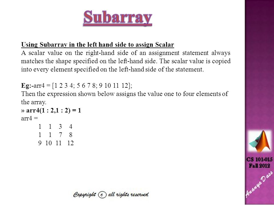 Subarray Using Subarray in the left hand side to assign Scalar